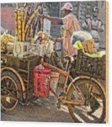 Belize Vendor With Bike Wood Print