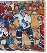 Bell Center Hockey Art Goalie Carey Price Makes A Save Original 6 Teams Habs Vs Leafs Carole Spandau Wood Print