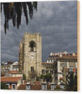 Bell Tower Against Roiling Sky Wood Print