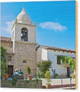 Bell Tower  In Carmel Mission-california  Wood Print