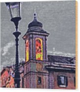 Bell Tower Of Rome Wood Print