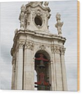 Bell Tower With Red   Wood Print