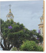 Bell Towers Next To Trees Wood Print