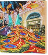 Bellagio Conservatory Fall Peacock Display Side View Wide 2 To 1 Ratio Wood Print