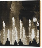 Bellagio Fountain At Night Wood Print