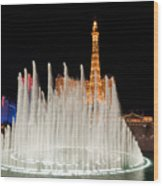Bellagio Fountains Night 2 Wood Print by Andy Smy