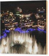 Bellagio Hotel Fountain Wood Print