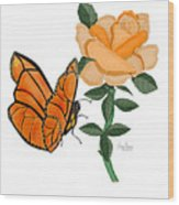 Belle And Flower Wood Print