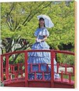 Belle On Red Bridge Wood Print