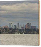 Bellevue Skyline Along Lake Washington Wood Print
