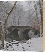 Bells Mill Bridge On A Snowy Day Wood Print