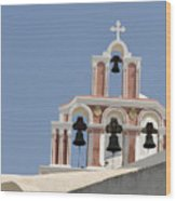 Bells Of Santorini Wood Print