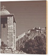 Belltower And Fortress Of Palamidi, Nafplio, Greece. Sepia. Wood Print