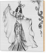 Belly Dancer With Veil. Friend Of Ameynra Wood Print