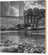 Below The Dam In Black And White Wood Print