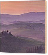 Belvedere And Tuscan Countryside Wood Print