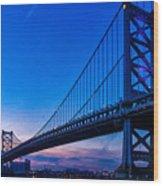 Ben Franklin Bridge At Sunset Wood Print
