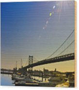 Ben Franklin Bridge From The Marina Wood Print