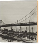 Ben Franklin Bridge From The Marina In Black And White. Wood Print by Bill Cannon