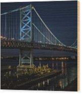 Ben Franklin Bridge In Philadelphia At Night Wood Print