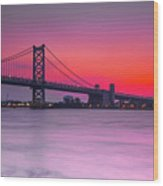 Ben Franklin Bridge - Sunrise Wood Print