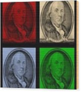 Ben Franklin In Colors Wood Print