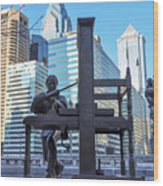 Ben Franklin Printing Press - Philadelphia Wood Print