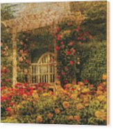 Bench - The Rose Garden Wood Print