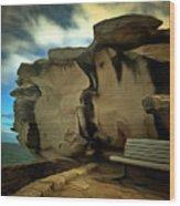 Bench And Huge Overhanging Rock Wood Print