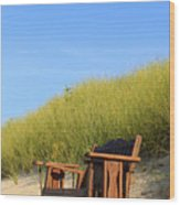 Bench At The Beach Wood Print