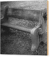 Bench By The Barn Wood Print