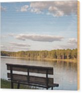 Bench By The Lake Wood Print