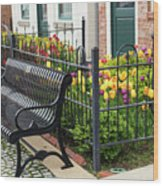Bench By The Tulips Wood Print