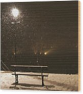 Bench For The Snowflakes Wood Print