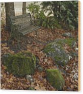 Bench In Fall Wood Print
