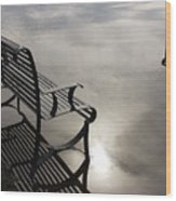 Bench In The Clouds Wood Print