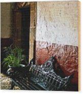 Bench In The Darkened Foyer Wood Print