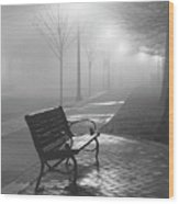 Bench In The Mist Wood Print