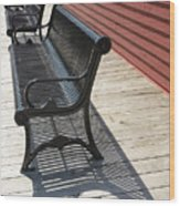 Bench Lines And Shadows 0862 Wood Print