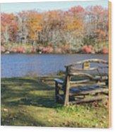Bench On Lake Wood Print