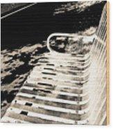 Bench Panorama In Sepia Wood Print
