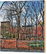 Bench View In Washington Square Park Wood Print