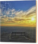 Bench With A View Wood Print