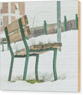 Bench With Snow Wood Print