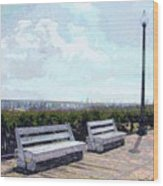 Benches Boardwalk And Lamppost 1 Wood Print