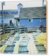 Benches On Boothbay Wood Print