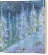 Bend Snow Trees Wood Print