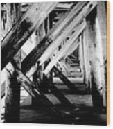 Beneath The Docks Night Wood Print