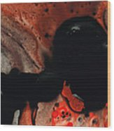 Beneath The Fire - Red And Black Painting Art Wood Print