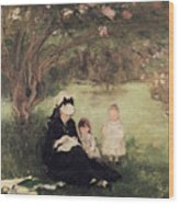 Beneath The Lilac At Maurecourt Wood Print
